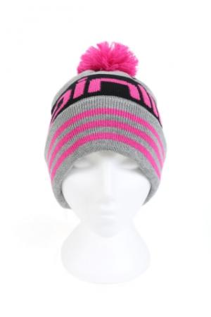 Mainline Grey/Pink Bobble Beanie