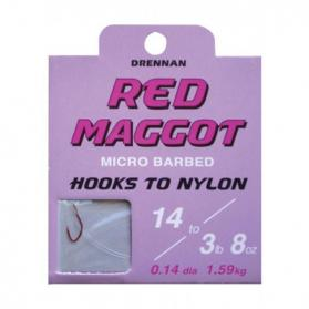 Drennan Red Maggot Barbed Hooks to Nylon