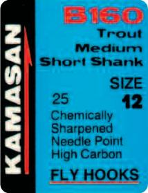 Kamasan B160 Trout Medium Short Shank Fly Hooks