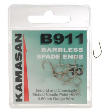 Kamasan B911 Barbless Wide Gape Spade End Hooks