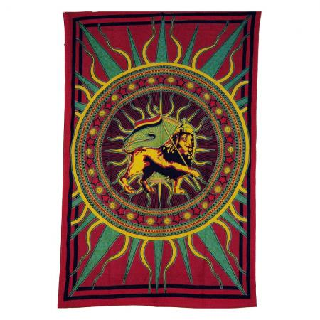 Rasta Lion Design Bedcover Single Bed Size