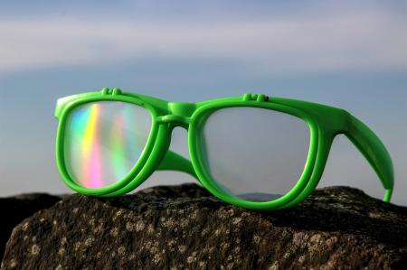 Green Diffraction Glasses - Rainbow Flip-Lenses