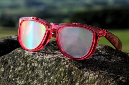 Red Diffraction Glasses - Rainbow Flip-Lenses