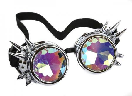 Silver Kaleidoscope Goggles Steam Punk Rave Trippy