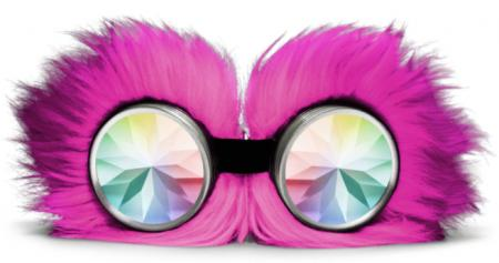 Pink Fluffy Monster Kaleidoscope Goggles