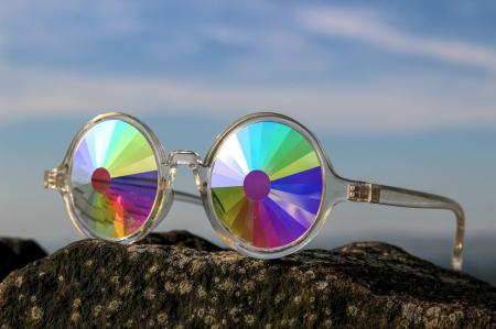 Clear Framed Kaleidoscope Glasses