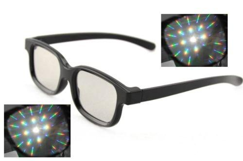 Black Diffraction Glasses - Rainbow Lenses