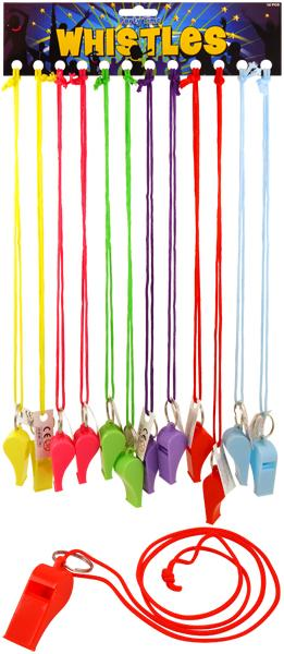 12 Pack of Coloured Whistles for sports, party bags, festivals, raves