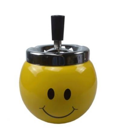 Ashtray - Yellow Smiley Face Design Metal Spinner Top Cigarette Ashtray