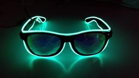 Green LED Kaleidoscope Square Frame Glasses