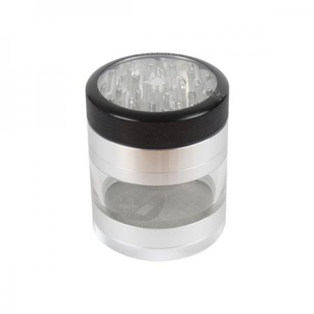 Kannastor Herb Grinder Clear Top wth Easy Change Screen 4 Piece Grinder in 2.2 or 2.5 Inch