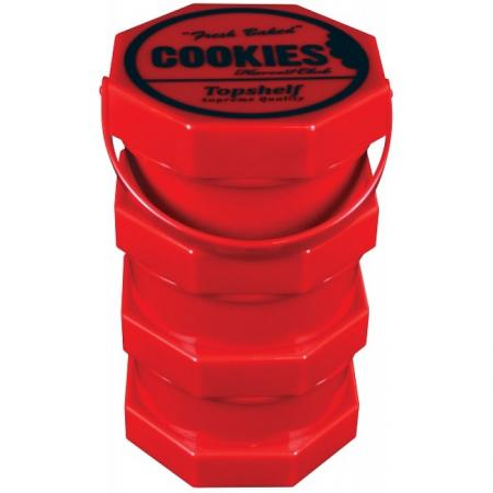 Cookies Harvest Club Red Triple Compartment Stash And Store Jar Airtight