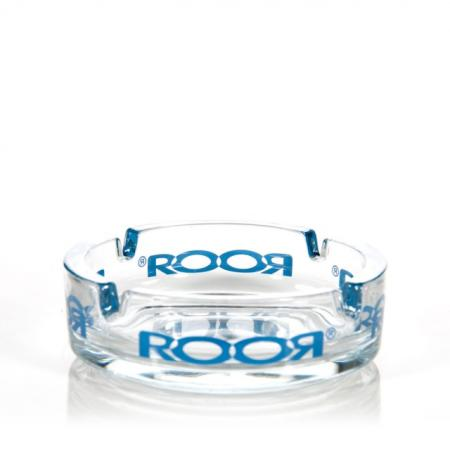 Roor Glass Ashtray Blue Logo