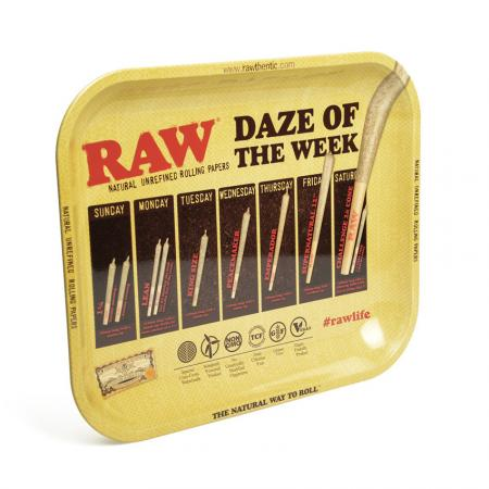 RAW Daze of the Week  Metal Rolling Tray  - Large (34cm x 28cm)