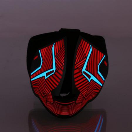 LED Lighted Up Sound Reactive Half Mask Red Equalizer Rave Party Festival