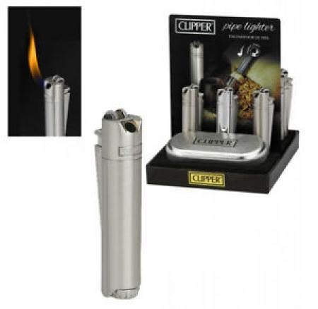 Clipper Metal Pipe Lighter Silver Chrome