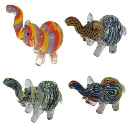 4inch Coloured Glass Elephant Pipe