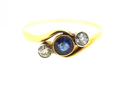 18ct Art Deco Sapphire & Diamond Ring (0658)