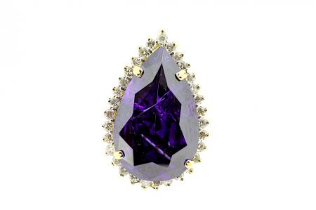 18ct Amethyst & Diamond Ring (C0225)