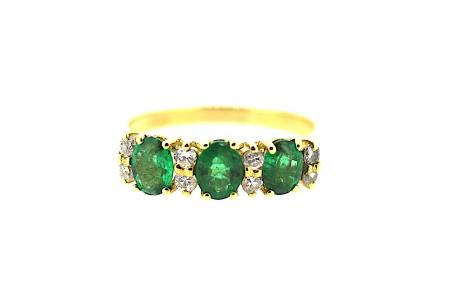 18ct Emerald & Diamond Trilogy Ring (1274)