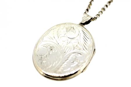 Vintage Sterling Silver Oval Patterned Locket