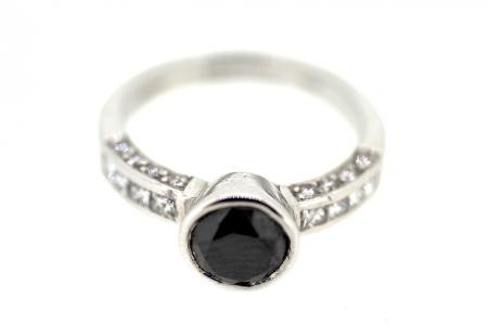 18ct White Gold Black Diamond Solitaire Ring (0970)