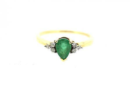 9ct Emerald & Diamond Ring (1196)