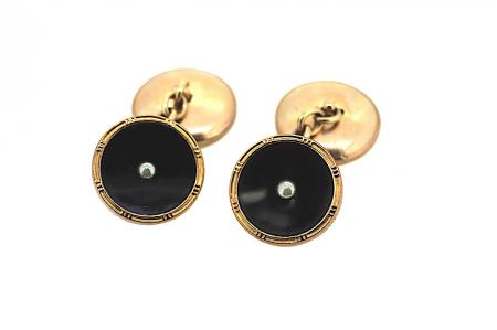 9ct Rose Gold Victorian Onyx & Seed Pearl Cufflinks