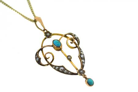 Victorian 15ct Turquoise and Seed Pearl Pendant