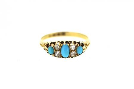18ct Victorian Diamond and Turquoise Ring