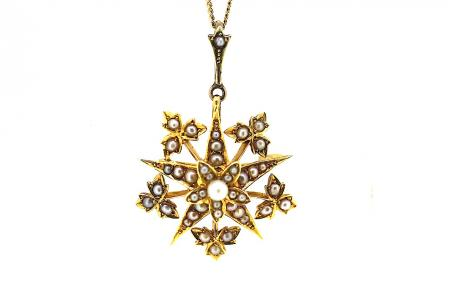 15ct Victorian Seed Pearl Star Brooch / Pendant