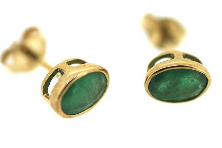 9ct Gold and Emerald Stud Earrings