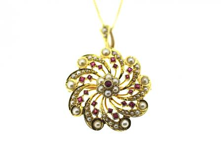 Edwardian Ruby and Seed Pearl Pendant