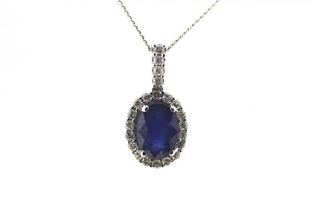White Gold Diamond and Sapphire Pendant (1125)