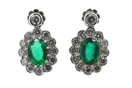 Large Columbian Emerald and Diamond Earrings
