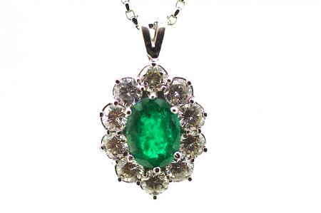 Large Columbian Emerald and Diamond Pendant