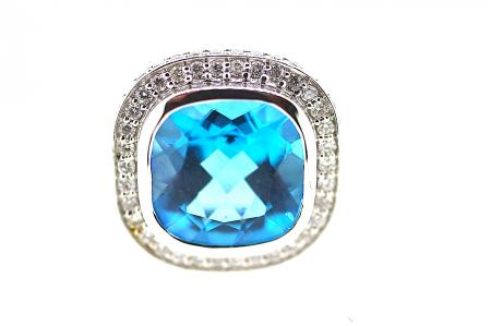 Blue Topaz and Diamond Ring (1022)