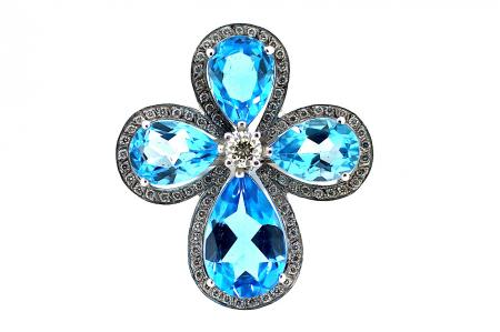 Flower Style Blue Topaz and Diamond Ring (0968)