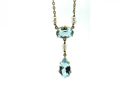 Vintage 14ct Gold Aquamarine and Seed Pearl Pendant (1276)