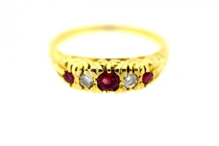 Vintage 3 Ruby and Diamond Ring