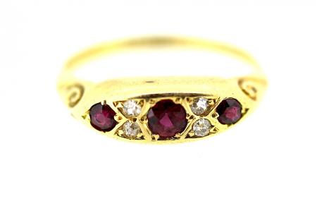 Edwardian Ruby and Diamond Band Ring (0675)