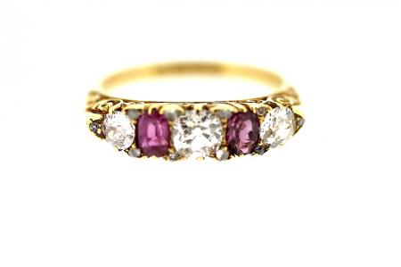 Edwardian Ruby and Diamond Band Ring (0865)