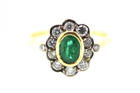 Vintage Emerald ad Diamond Ring (0873)