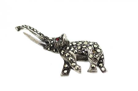 Silver Elephant Ruby Marcasite Brooch (s0641)