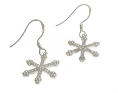 Sparkling Snowflake Drop Earrings