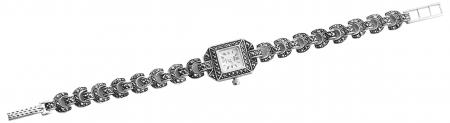 Solid Silver Square Face Marcasite Watch (1701)