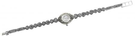 Solid Silver Marcasite Watch (1702)