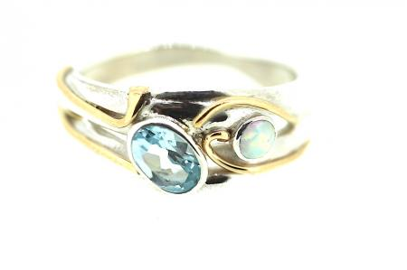 Blue Topaz and pale Opalite Ring (ri0847)