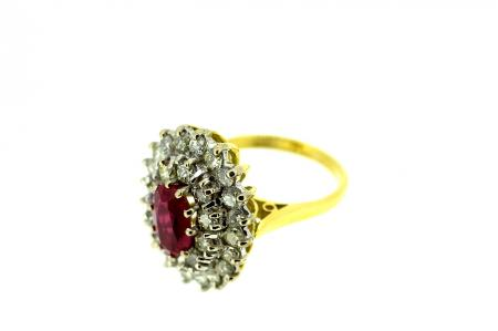 18ct 1.5ct Ruby, 2ct Diamond Ring