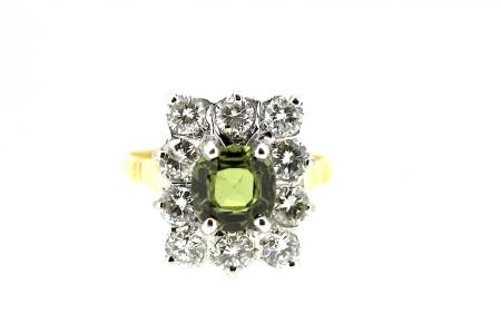 Rare Green Sapphire and Diamond Ring